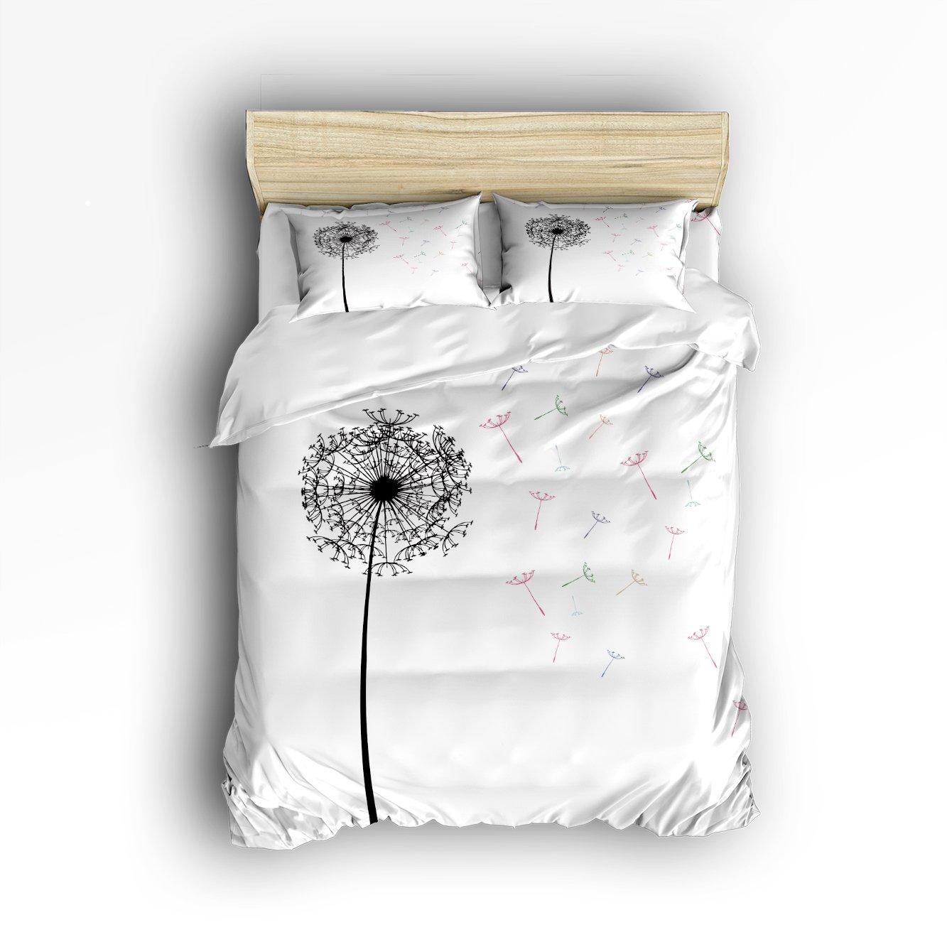 Family Decor White Black Dandelion Print Home Comforter Cover Bedding Sets Duvet Cover Sets Bedspread for Adult Kids,Flat Sheet, Shams Set 4Pieces,4 Pcs Queen Size for Kids Teenage Teens