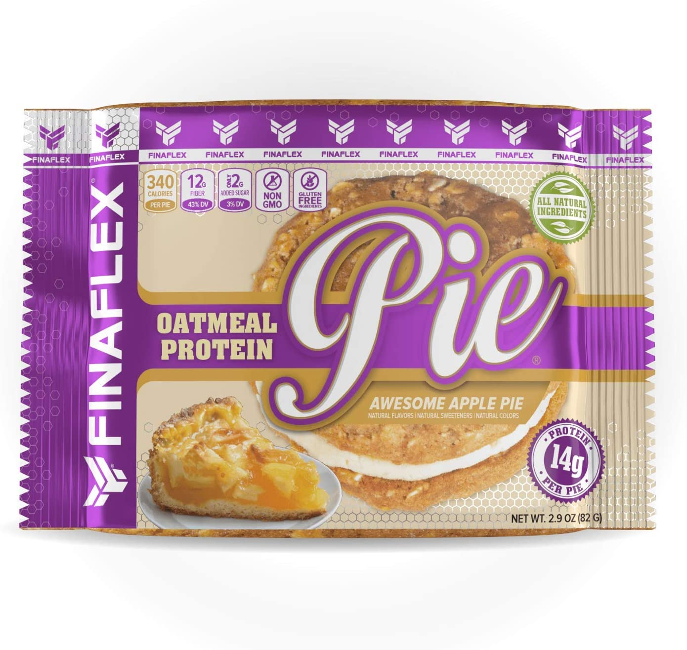 Oatmeal Protein Pie Awesome Apple Pie, All Natural Soft and Chewy Non GMO Protein Snack, Gluten Free, Kosher, 14g Protein, 12g Fiber, Creamy Marshmallow Protein Filling, Perfect for Kids and Adults