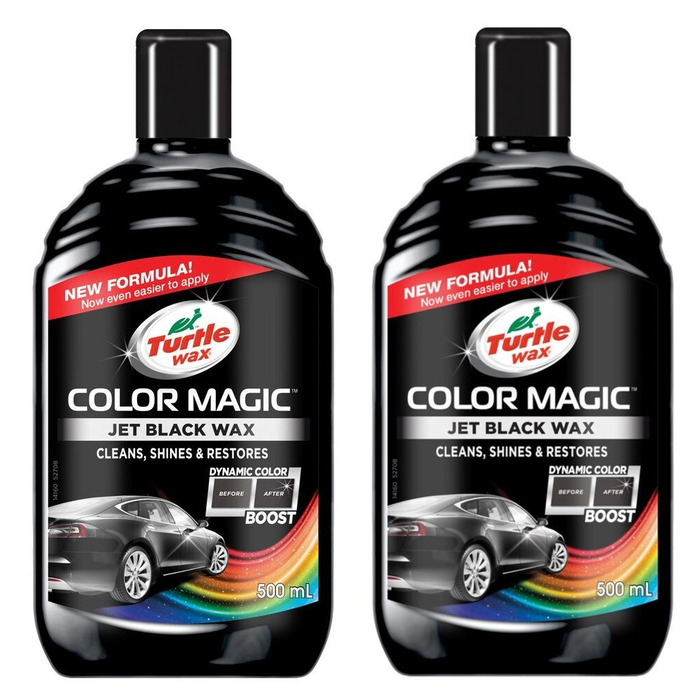 Turtle Wax 52708 Color Magic Car Paintwork Cleans, Shines & Restores Scratches Faded 2 x 500ml Black
