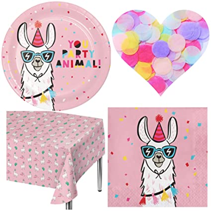 6423a552abe21 Llama Birthday Party Supplies - Plates, Napkins, Tablecover and Paper  Confetti. Serves 20 Guests