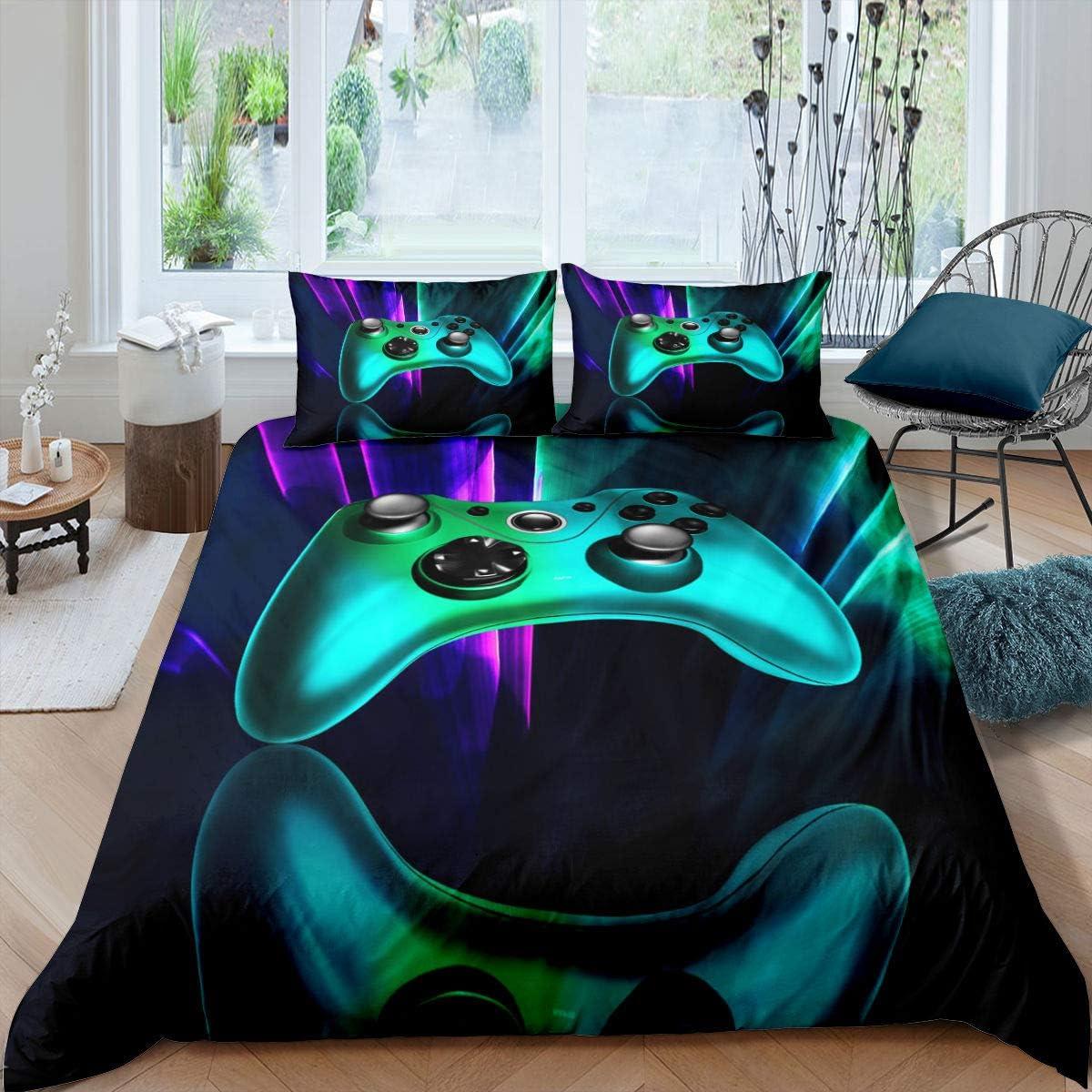 Erosebridal Gaming Bedding Twin Size 3D Green Gamepad Duvet Cover Boys Gamer Gaming Joystick Comforter Cover Set for Kids Teens Games Room Decor, Neon Trippy Trendy Bedding Set, Purple