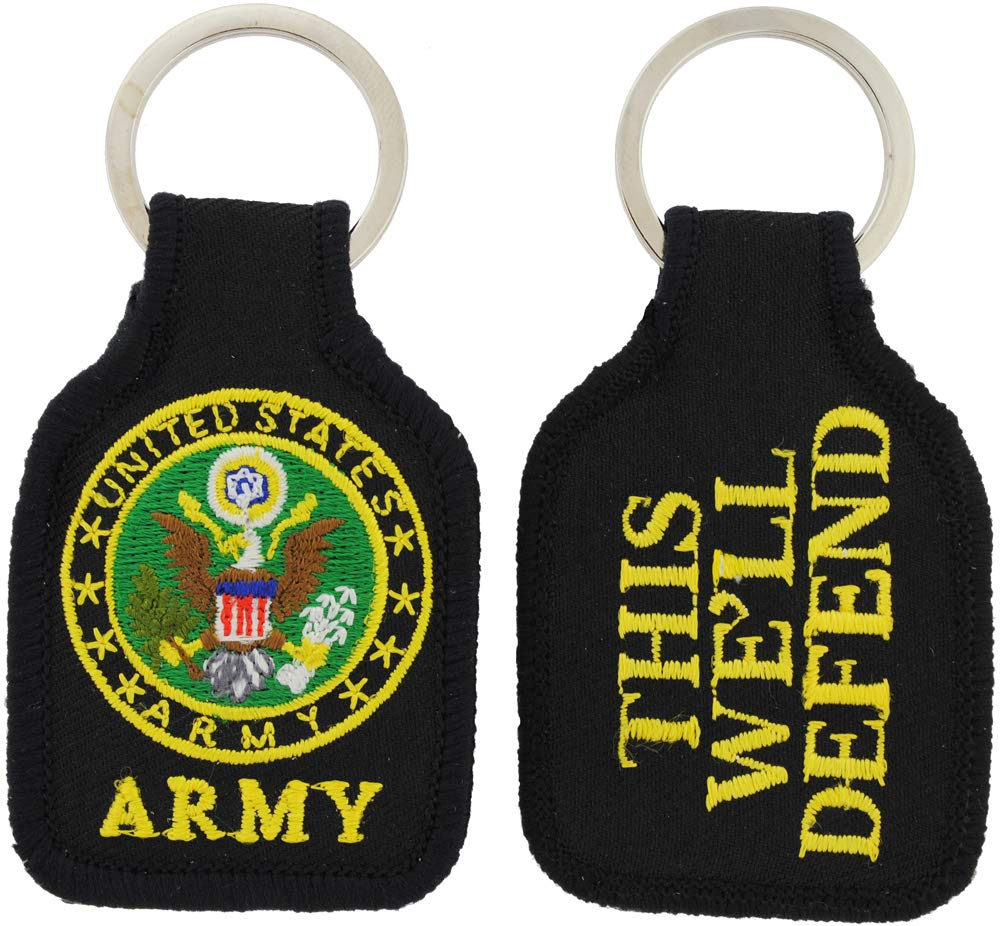 Rush Industries US Army Keychain United States Army Embroidered Key Chains Military Products for Men Women Teens Christmas Holidays Birthdays Veterans Day