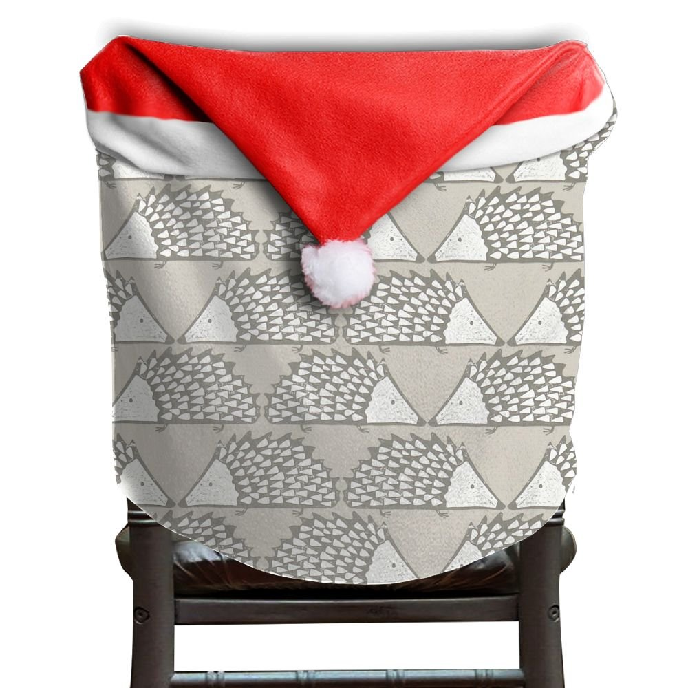 Hedgehog Animals Christmas Chair Covers Classic Not Fade Santa Hat Chair Covers For Husbands Chair Back Covers Holiday Festive