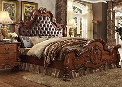 quality design bcd84 7157e Amazon.com: Esofastore Antique Cherry Oak Finish Tufted ...