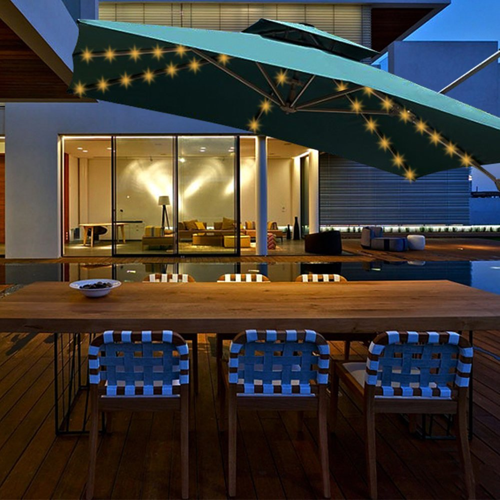 Aquelo Patio Umbrella Lights Warm White,Battery Operated String Light Led for Garden Umbrellas, Camping Tents or Outdoor Using by Aquelo (Image #5)
