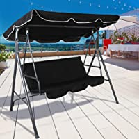 Levede Swing Chair Hammock Outdoor Furniture Garden Canopy 3 Seater Seat Black Black