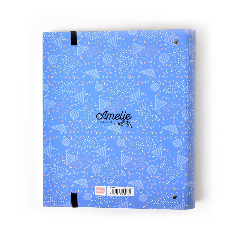 Grupo Erik Editores CAT0015 - Carpeta 4 anillas Troquelada Premium Amelie Classic con goma, Azul: Amazon.es: Oficina y papelería