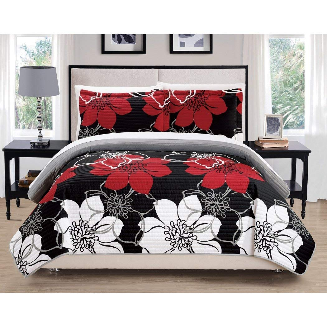 2pc Girls Red White Grey Black Floral Theme Quilt Twin Set, Girly Abstract Flowers Pattern, Solid Gray Themed, Dark Burgundy, Pretty Chic Flower Bedding
