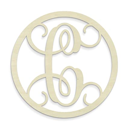 Amazon.com: UNFINISHEDWOODCO Single Letter Circle Monogram C, 19