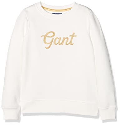 Gant Girl's Gold Crew Sweatshirt, Off-White (Eggshell), 7-8