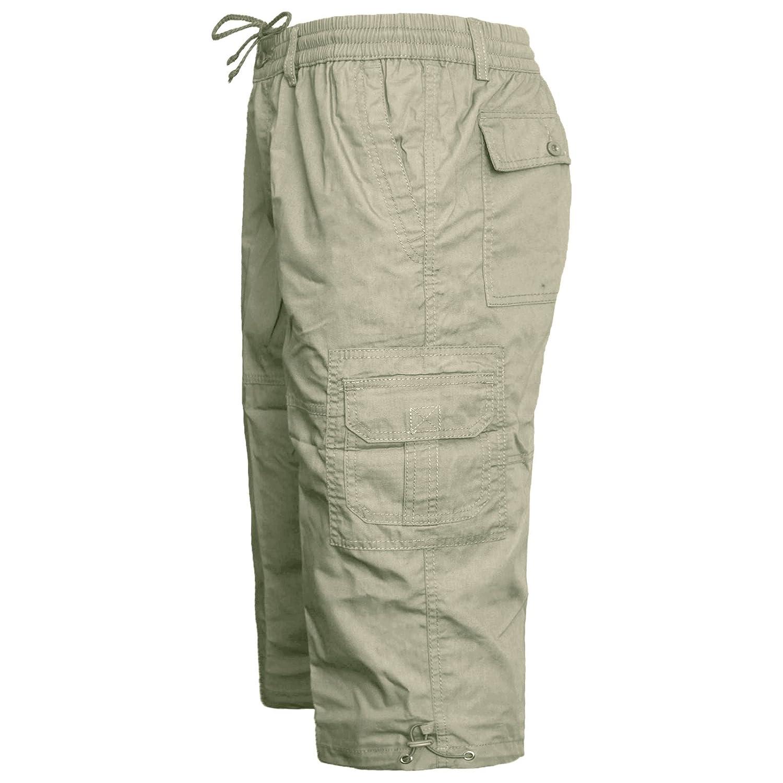 MENS ELASTICATED WAIST SUMMER COTTON SWIM BEACH CARGO COMBAT 3//4LONG SHORTS PANT