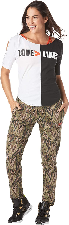 Maglietta da Donna con Spalle Fredde Zumba Athletic Workout Cold Shoulder Tops for Women Fashion Print Design Tee Shirt AthleticWorkout