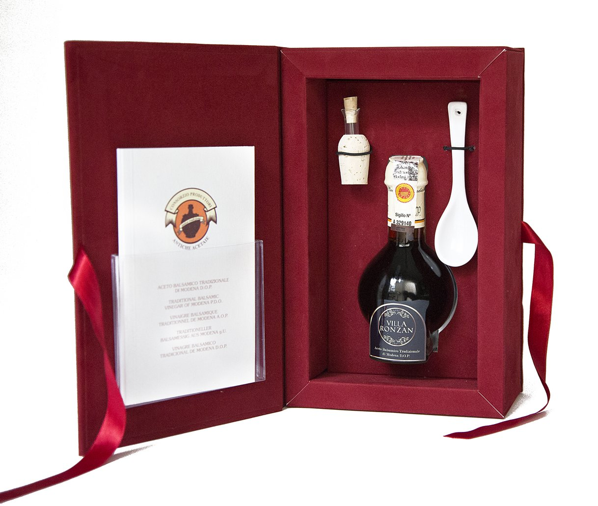 Balsamic vinegar gift set. Aceto balsamico tradizionale of Modena. Aged 12 years. DOP certified from Villa Ronzan. On Sale Now. by Villa Ronzan