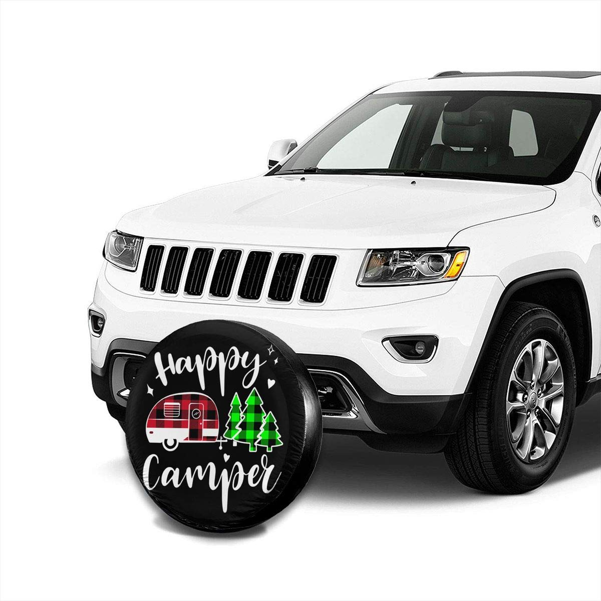 RV SUV and Many Vehicle 14 15 16 17 Happy Camping Camper Buffalo Plaid Spare Wheel Tire Cover Waterproof Dust-Proof Fit for Trailer