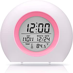 ANDATE Alarm Clock for Bedroom, Kids Alarm Clock 7 Color Night Light, Snooze, Temperature Detect for Toddler, Children Boys and Girls, Students to Wake up at Bedroom, Bedside, Batteries Operated