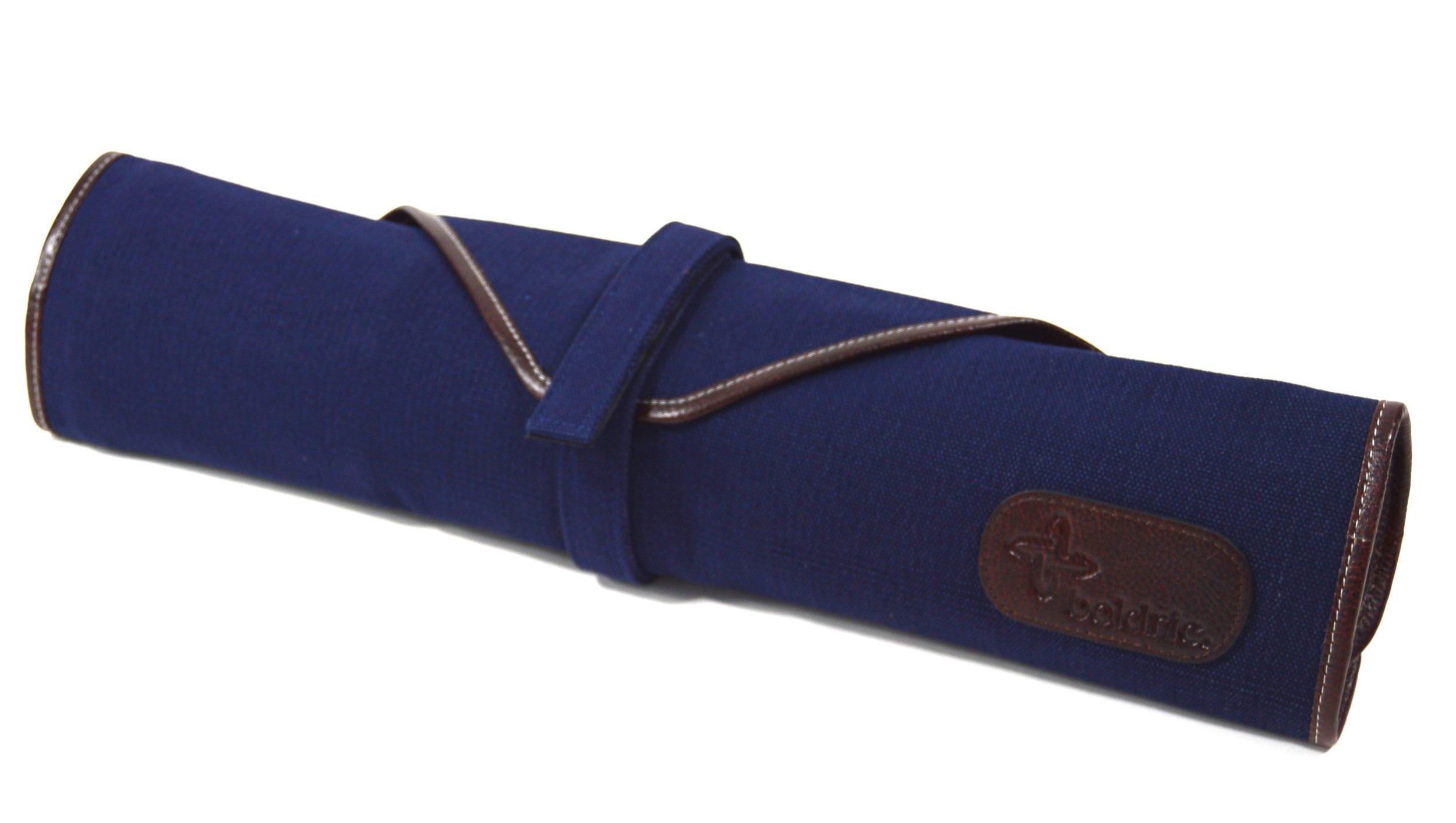 Boldric 6 Pocket Canvas Knife Bag, Heavy-Duty Portable Chef's Knives Case, Navy, 20-inch