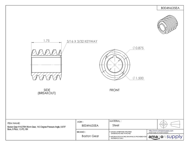 "Boston Gear HLVH1 Worm Gear 14.5 Degree Pressure Angle 16 Pitch, 0.313/"" Bore"