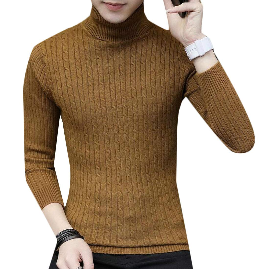 Domple Mens Cable Knit Pullover Knitwear Turtleneck Slim Warm Sweater Coffee US XL