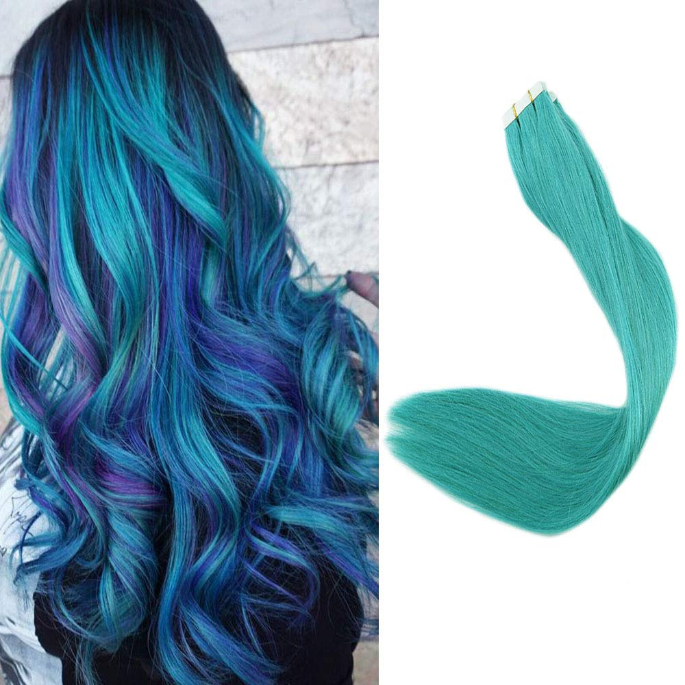Full Shine Hair Extensions Tape In Human Hair 24'' 10pcs 25g Teal PU Tape Hair Straight Fashion Style Highlight Tape Ins by Full Shine