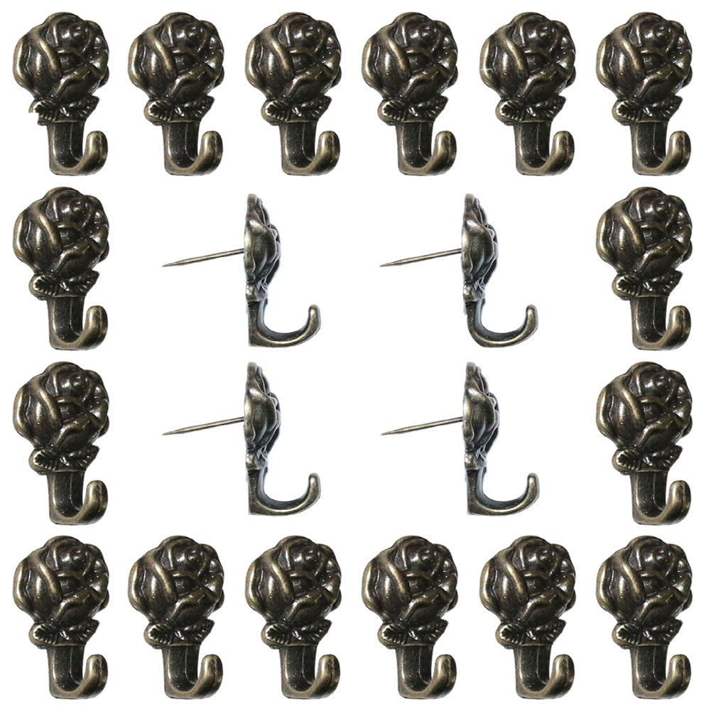 Welldoit Zinc Alloy Rose Push Pin Hanger Pack of 20 (Bronze)