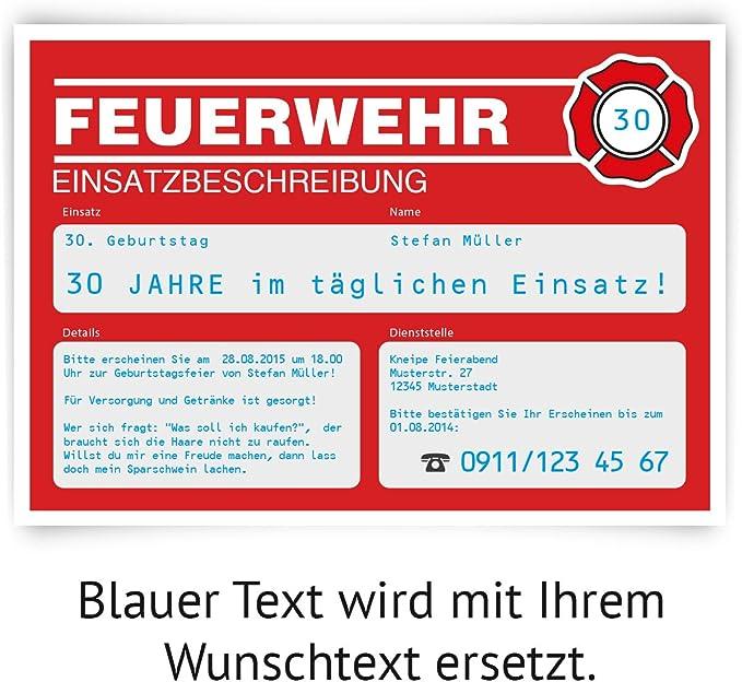 DH 302439 Feuerwehr Einladungskarten Geburtstag /& Party 6 Stk.