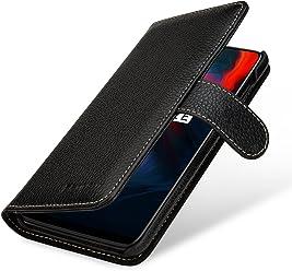 StilGut Housse OnePlus 6 Porte-Cartes Talis en Cuir véritable à Ouverture latérale et Languette magnétique, Noir