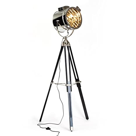 Lightbox Cine - Lámpara de pie (cromada, diseño industrial, trípode de madera, 1 x E27, 60 W máximo, 175 x 45 cm, de metal/madera)