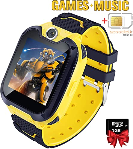 Kids Games Music Camera Smartwatch Phone for Girls Boys Birthday with SOS Call Alarm,1.54 inch Touch Screen Fits for 3-12 Children with SIM Card and SD Card