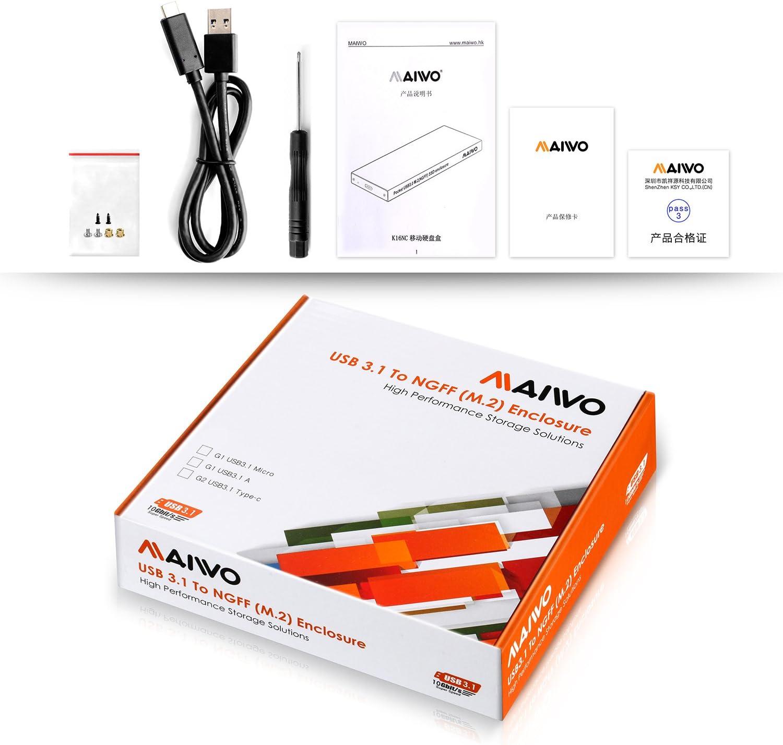 Maiwo Mini Portable USB3.1 M.2 NGFF SSD Enclosure Black,Support UASP K16NC