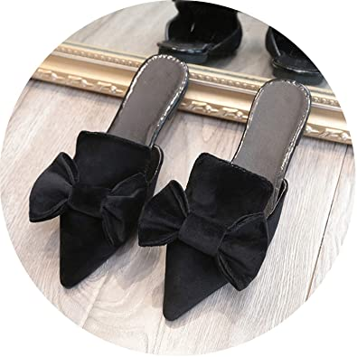 cc5ed866a Woman Slippers Bowtie Flat Shoes Low Heels Autumn Mules for Women Slides  Flock Female Pointed Toe