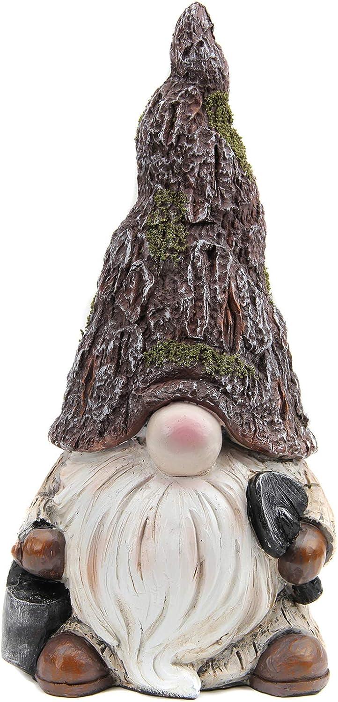 Leekung Gnomes Garden Statues Outdoor Decorations,Garden gnome Home Decor,Indoor Gnomes Figurine Antique Woodstone Color