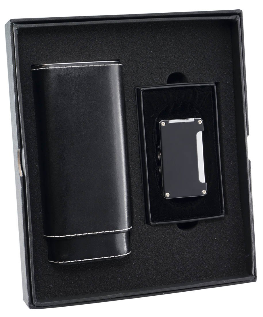 Visol ''Naturale'' and Black ''Zidane'' Cigar Case and Lighter Gift Set