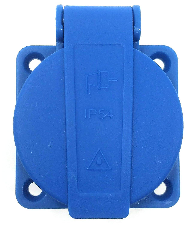 Toma Schuko de panel con p/árpado azul IP54