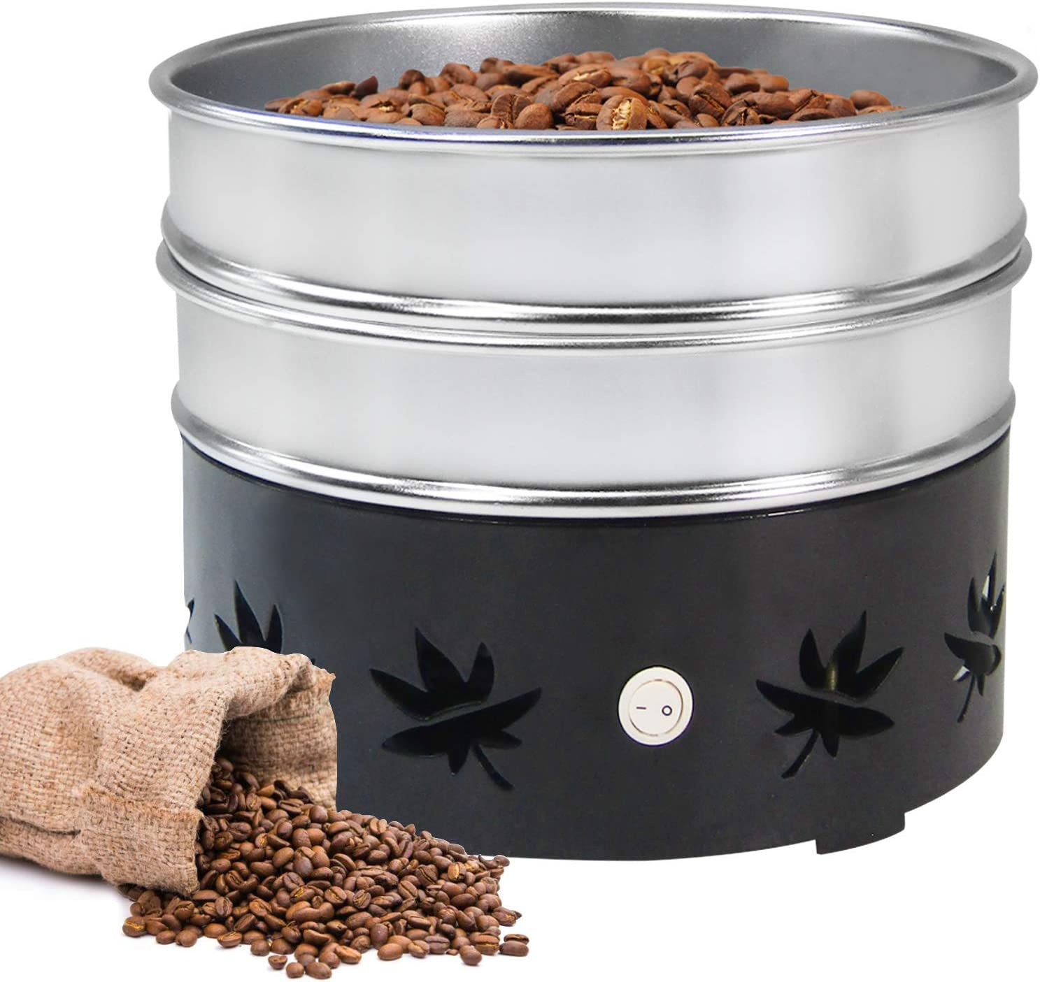 Home Coffee Beans Cooler Machine Electric Coffee Beans Cooling Tray Collect Chaffs&Cool 1.1lb Beans in 1-2mins 110V US Plug