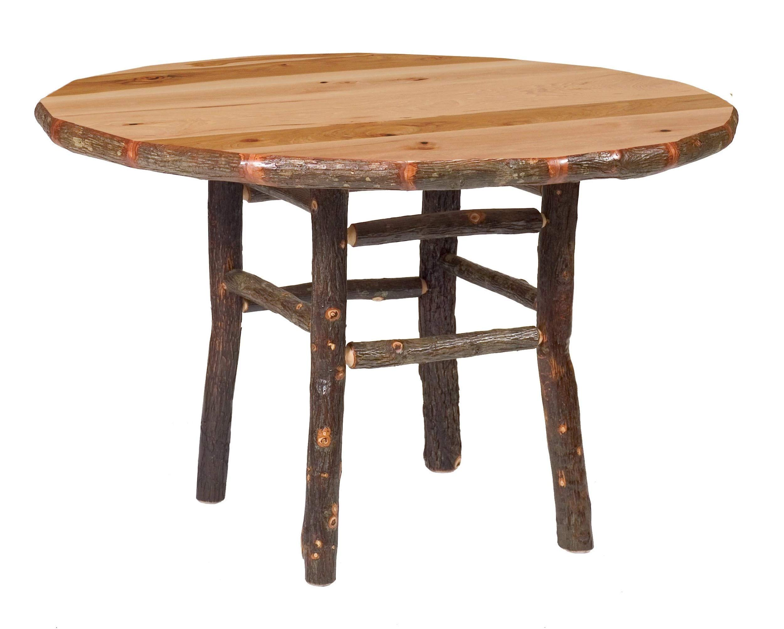 Genuine Hickory Log Round Dining Table - Custom Sizes Handmade USA by Fireside Lodge