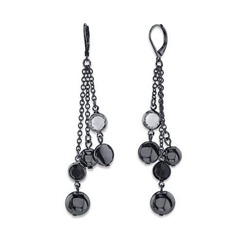 1e9989bba42eb0 Image Unavailable. Image not available for. Color: 1928 Jewelry Black  Crystal Chanel Bead Multi Chain Drop Earrings