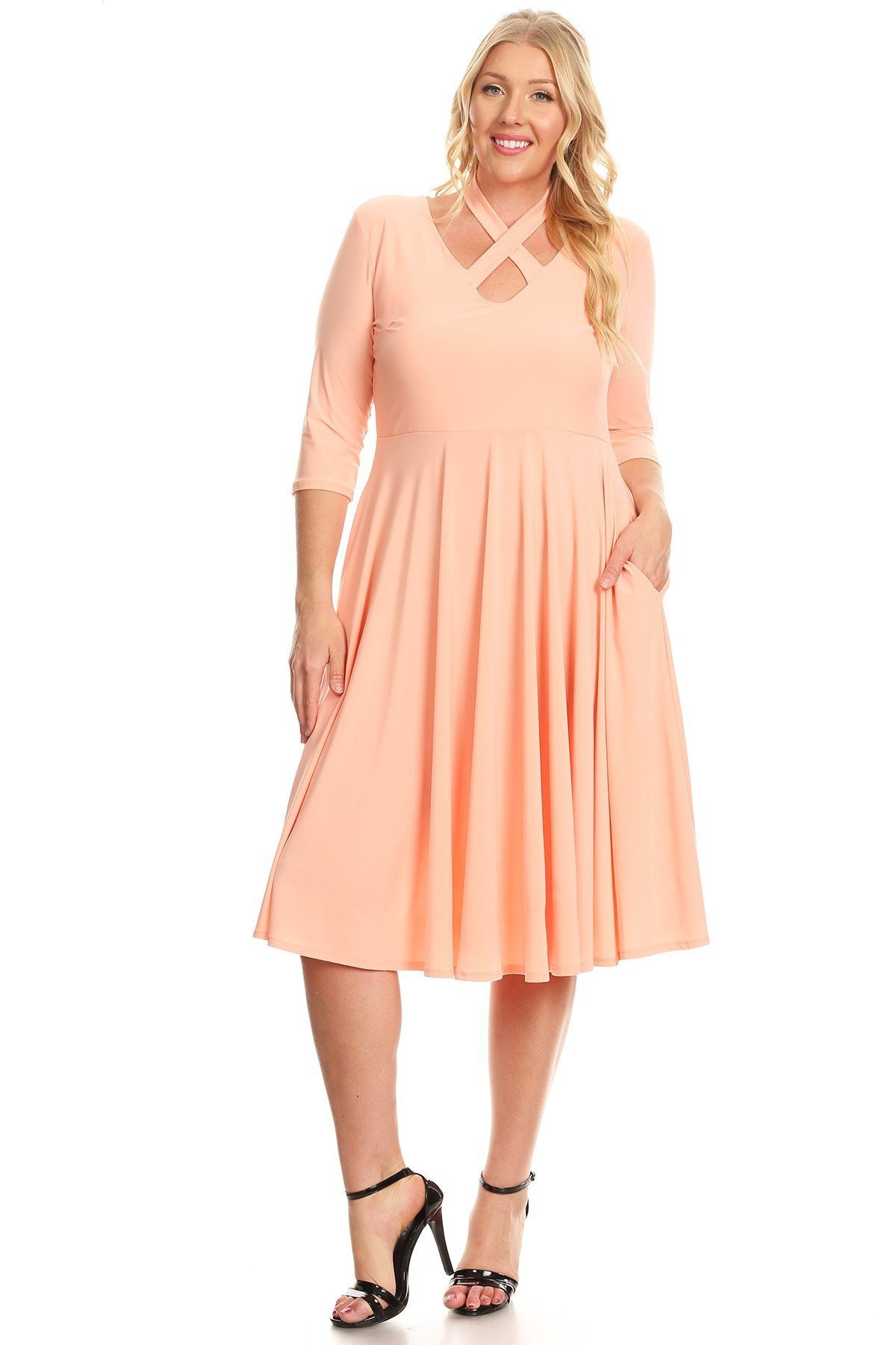 Pastel by Vivienne Women's Fit and Flare Plus Dress with Criss-Cross Halter Neck XXX-Large Peach