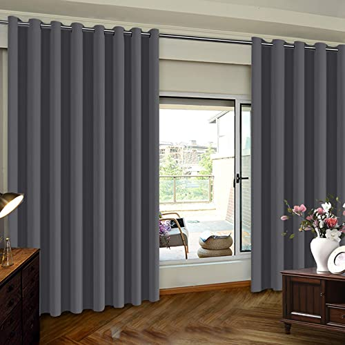 Turquoize Privacy Screen Room Divider Curtain Sliding Glass Door One Panel,8.3ft Wide x 9ft Long Thermal Insulated Premium Room Divider with Grommet Top Room Divider, One Panel, Charcoal Gray