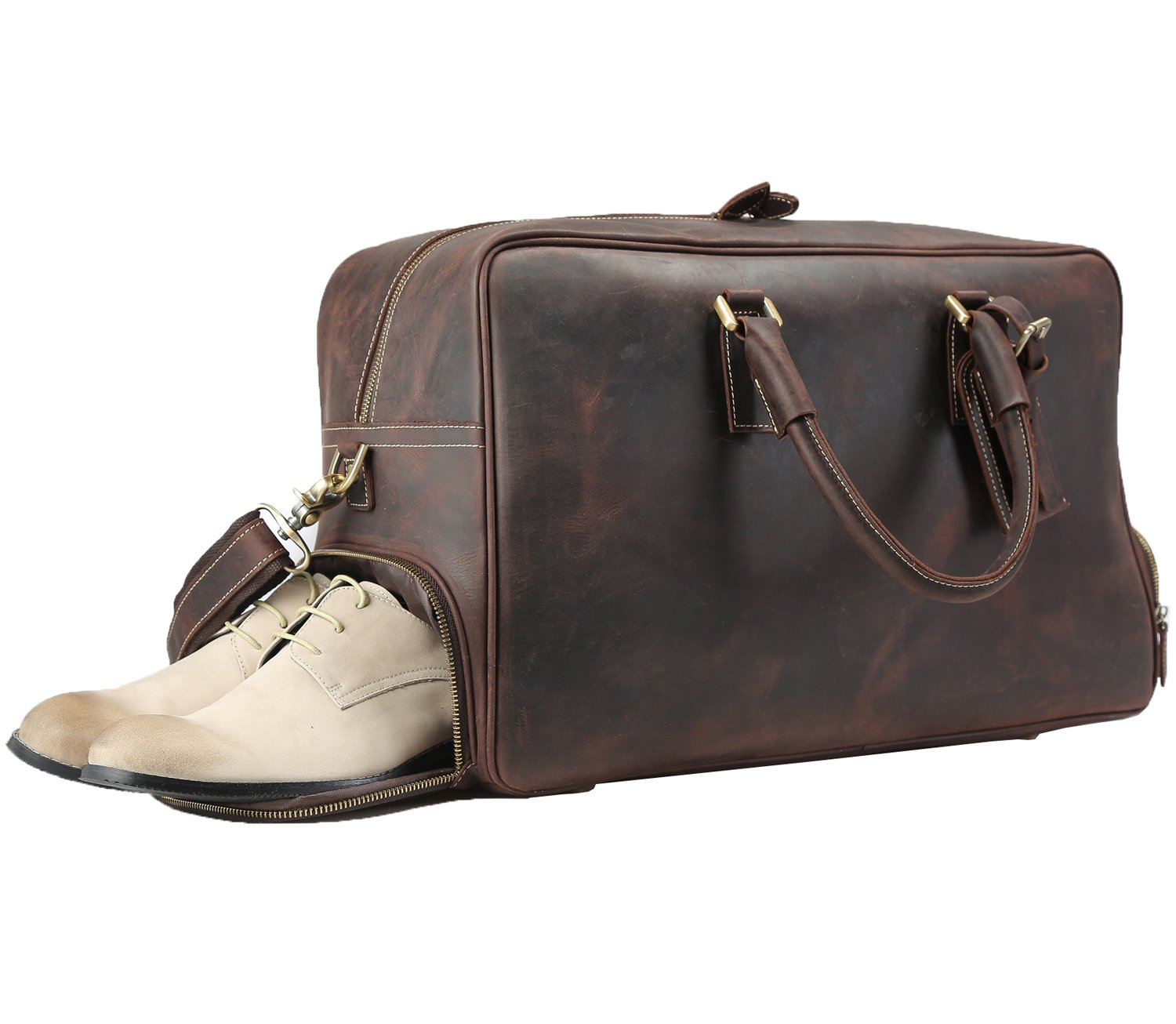 Texbo Cowhide Leather Weekend Travel Hiking Duffle Sport Bag With Shoes Storage 20''