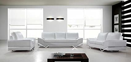 Amazoncom Vanity White Leather Modern Sofa Set Contemporary