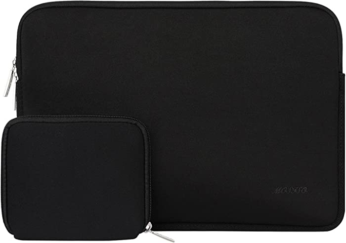 MOSISO Laptop Sleeve Compatible with 15 inch MacBook Pro Touch Bar A1990 A1707, ThinkPad X1 Yoga, 14 Dell HP Acer, 2019 Surface Laptop 3 15, Water Repellent Neoprene Bag with Small Case, Black