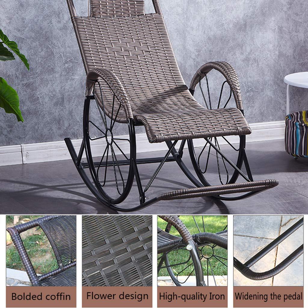 Chaises Lounger pr/ésident Accueil Pause d/éjeuner Rocking Chair avec /épaissie en rotin Weatherproof pour Respirant Jardin Patio P/êche portantes 150 kg LWG
