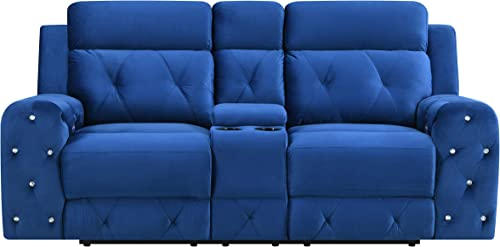 Global Furniture USA Jewel Embellished Reclining Loveseat in Blue Love Seats