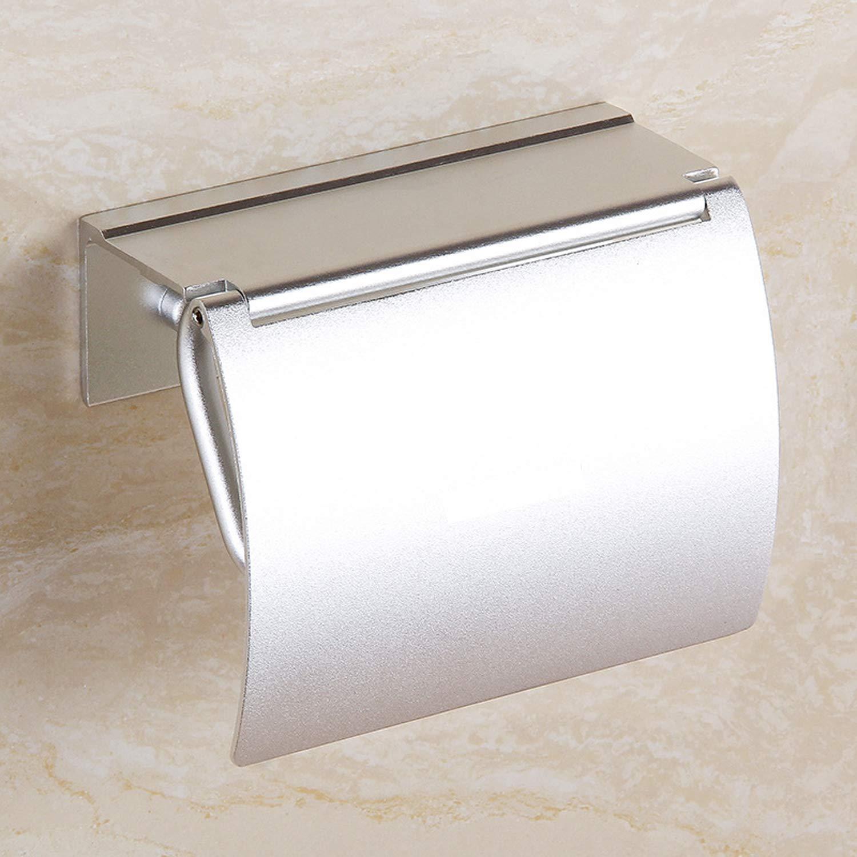 con supporto per cellulare design antipolvere Ochioly porta rotolo di carta igienica autoadesivo in alluminio antiruggine per il bagno colore argento