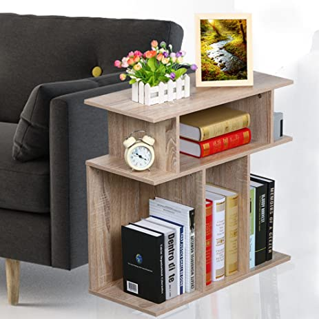 Rustice Accent Side Table Book Storage Display Shelves Sofa End Console  Table