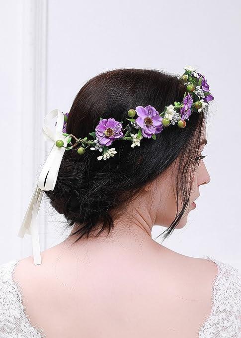 kercisbeauty rosa peonía flor morada corona guirnalda boda corona de pelo  novia tocado guirnalda de flores ae5fd53f89a8