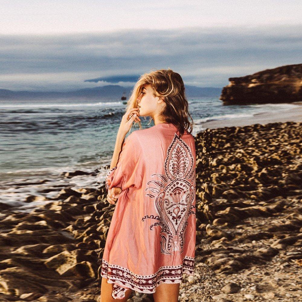 Kimono Femme Imprim/é Fleurs Kimono Plage Boh/ême Mousseline de Soie Cardigan Cape Manteau Printemps V/êtement de Vacances Tunique /Ét/é Vestes Robe Voyage Chic Cache-Maillots Sarongs Cap Couche