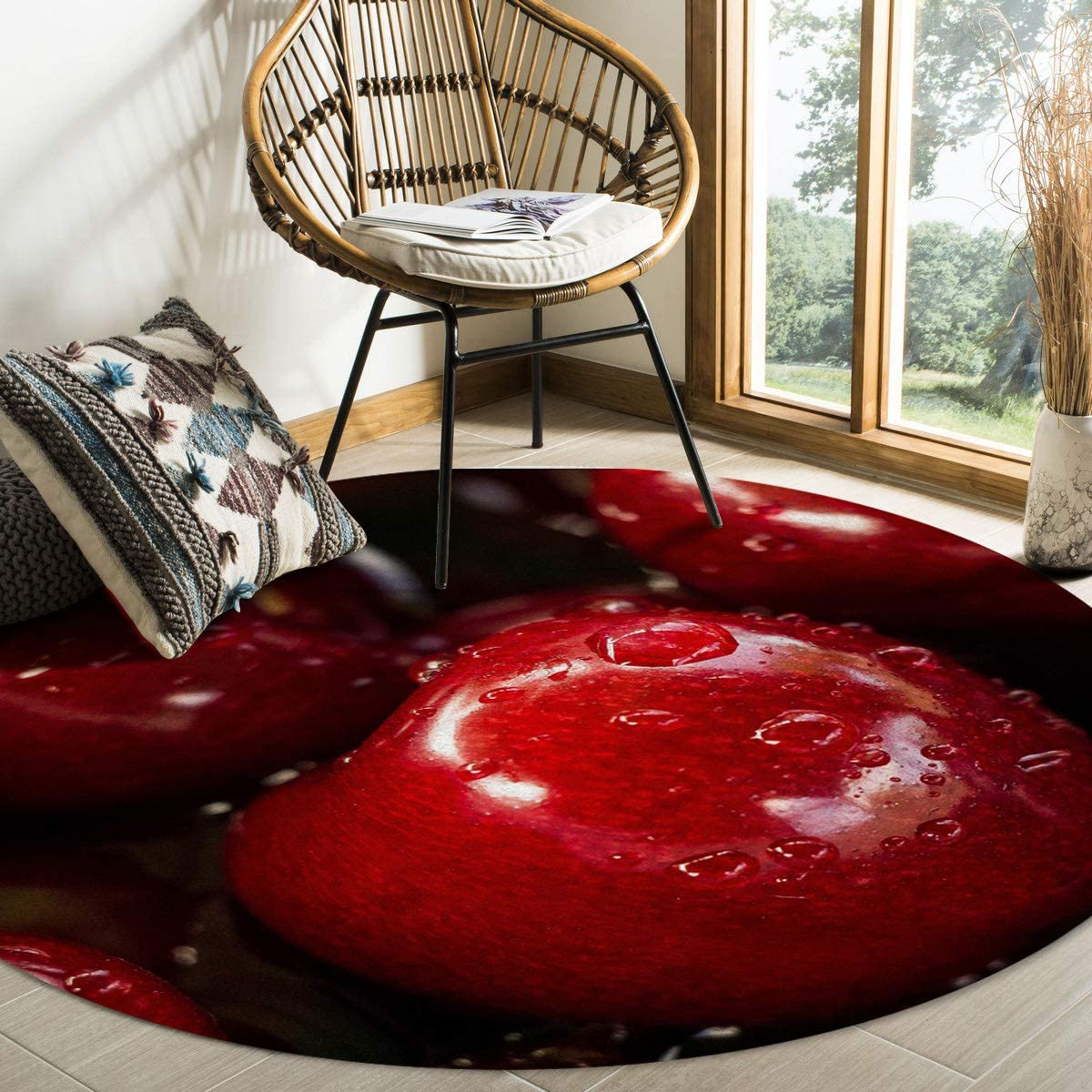 Red Apple Drip Area Rug Round Rugs 4ft, Fresh Fruit Collection Area Runner Circle Rug (Non-Slip) Carpets Kids Living Room Bedroom Indoor Outdoor Nursery Rugs Décor