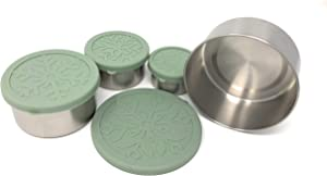 Stainless Steel Portable Food Storage Containers with Flexible Silicone Lids Set of 4 (Sage), Eco-friendly, Nontoxic and Plastic Free