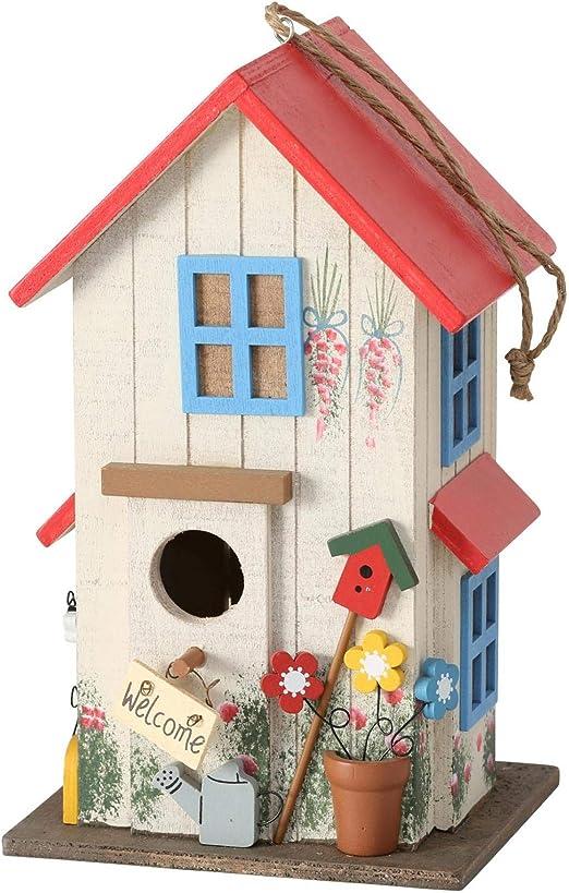CasaJame Pajarera de madera, multicolor y rojo, para jardín, nido, casa para pájaros, pajarera, decoración de balcón, 15 x 13 x 26 cm: Amazon.es: Productos para mascotas